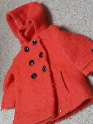 NEXT GIRLS COAT RED DOUBLE BREASTED WITH HOOD 12/18 Months