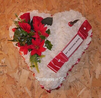 Artificial silk flower Christmas heart wreath funeral tribute memorial
