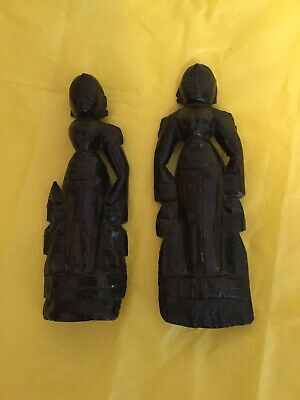 Fabulous Antique Large Pair of Medieval Hand Carved King & Queen