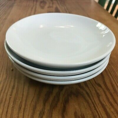 """Lot of  FOUR Pottery Barn Great White Coupe 5.5"""" Appetizer Plates EC"""