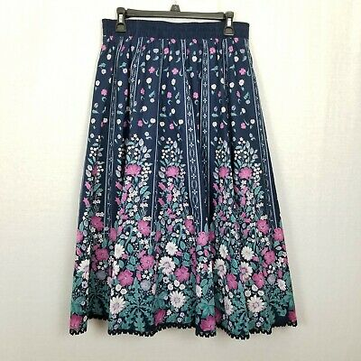 Landhaus Mode 42 10 Germany Trachten Skirt Oktoberfest Blue Floral