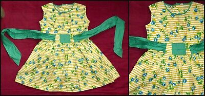 Vintage 40S 50S Girls Stripey Cotton Roses Dress Approx Age 6 7 Wwii