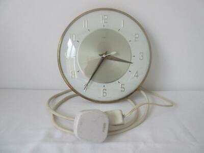Lovely Vintage Retro 60'S/70'S Brass & White Metamec Electric Wall Clock