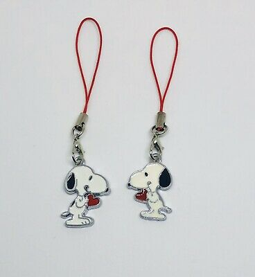 Set Of 2 Peanuts inspired Snoopy Dog With Red Heart Christmas Ornaments