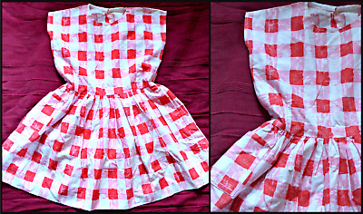 Vintage 40S 50S Girls Checked Cotton Dress Approx Age 6 7 Wwii