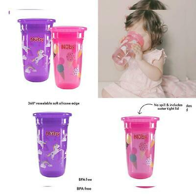 Nuby Sipeez 360 Degree Wonder Pink /& Purple Maxi Cups Drink Pack Of 2 Assorted