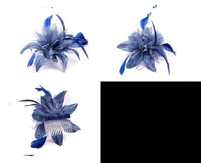 Navy Blue Feather Comb Fascinator Ladies Day Royal Ascot Weddings