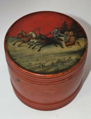 Russian Antique Lacquer Tobacco Barrel Hand Painted Late 19th century