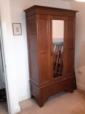 "Edwardian wardrobe mahogany, bevelled mirror, bottom drawer. W.41"" H.80"" D.18"""