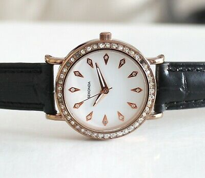 Sekonda Ladies Rose Gold Plating 2027 Watch 33m black band white dial