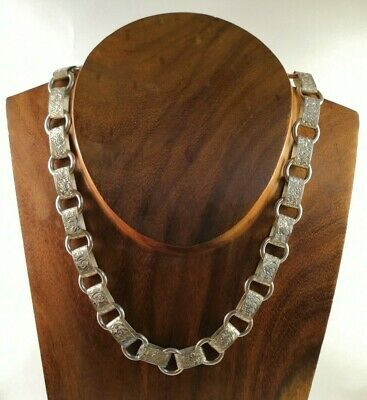 Rare Antique Victorian Sterling Silver Engraved Book Chain Link Necklace 30.48g