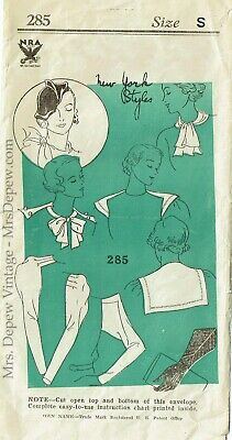 Vintage Sewing Pattern 1930s Ladies' Hat, Gloves, Collar, Jabot & Sleeve RARE