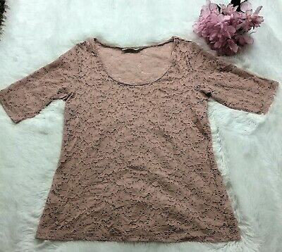 Maurices Women's Plus Lace Top Sz XXL Light Pink Short Sleeve See Through