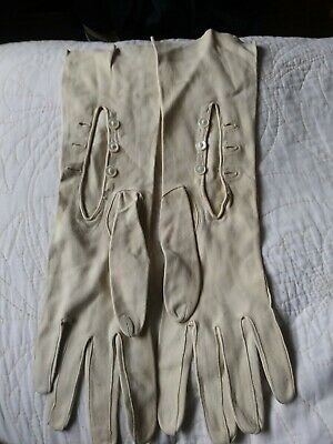 Vintage Cream Leather Suede French Long Button Gloves