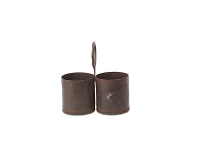 Two Compartment Reclaimed Decorative Metal Dendi Storage Pots by Nkuku