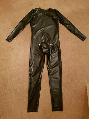 Mens Rubber Catsuit Black Shoulder Zips Codpiece Latex Fetish Rear Zip Gummi