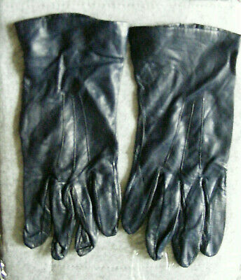 gloves, navy, very fine leather, silk lined, ladies, vintage