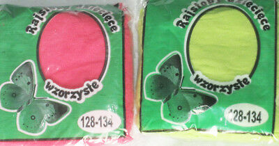 2 Girls Lace Tights. Age 5-6 Spring Green & Pink Flower Pattern