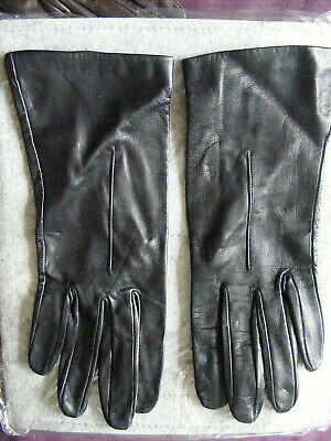 gloves, navy, fine leather, Jonelle, Made in England, ladies size 7.5, VGC