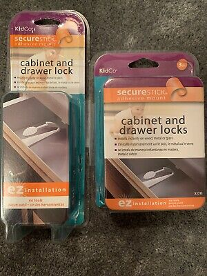 KidCo SecureStick Adhesive Mount Cabinet and Drawer Lock ez installation 4 Pack
