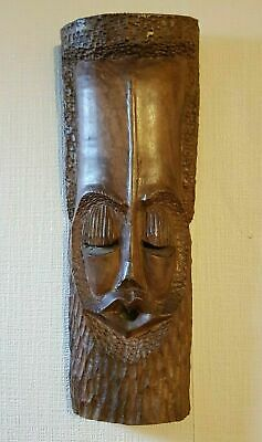 """Heavy Hand Carved Hardwood Asian African Tribal Face Wall Mask 14.5"""""""