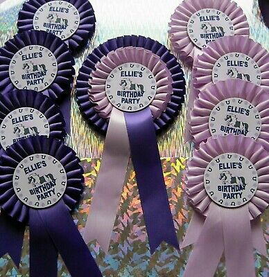 Pony Party Personalised Birthday Rosettes with Jumping Pony image