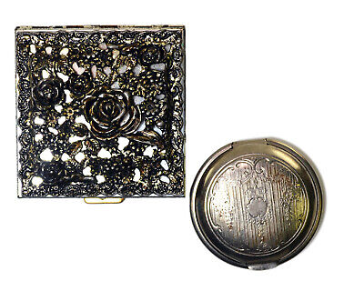 1920's Art Deco Compact Lot of Two Ornate Mirror Powder Engraved Antique Makeup