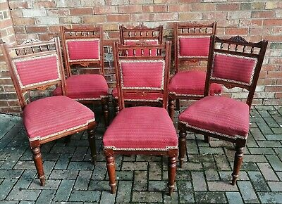 Antique Victorian Set Of 6 Dining Chairs. Traditionally Upholstered.