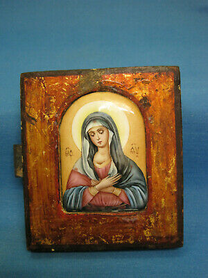ICON. Holy Mother. Antique Old Orthodox Icon. Enamel. Russia 20th century.