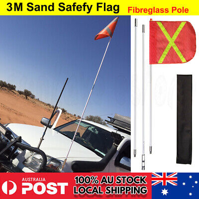 3 x 1m Recovery Sand Flag Safety Flag Simpson Desert + quick connector base OZ