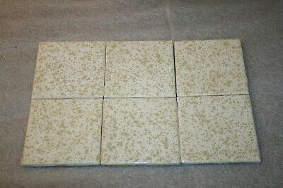 "SIX (6) PieceS Vintage 4 1/4"" Ceramic Tile  White Gold Splotches Glossy"
