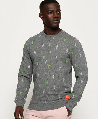 Superdry Mens All Over Embroidered Crew Sweatshirt