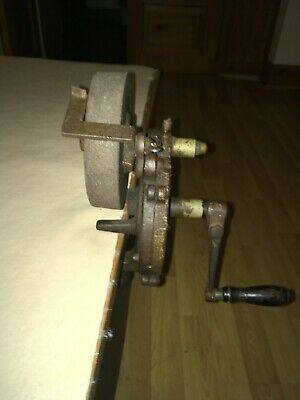 Hand Crank Bench Grinder antique Vintage Old Tools Sharpener Milwaukee made USA