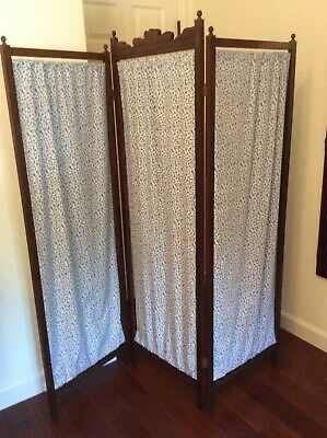 Antique Victorian Folding~Tri-Fold Dressing Screen~ Privacy Screen~Room Divider