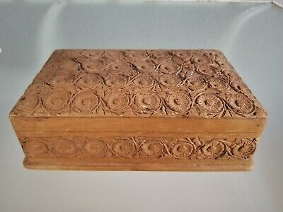 Antique Hand Carved Wooden Box Ornate English Carvings Treen Wood Rosette