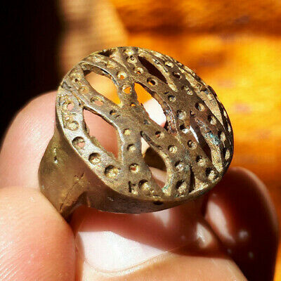 Rare Ancient medieval authentic Bronze Ring Musueum Quality Artifact