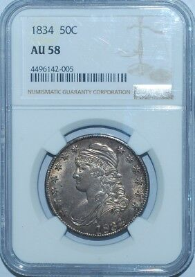 1834 NGC AU58 Large Date Large Letters Capped Bust Half Dollar
