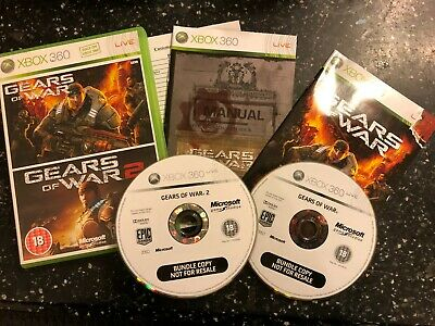 2 x XBOX 360 GAMES GEARS OF WAR 1 I + GOW II 2 +box & instructions complete PAL
