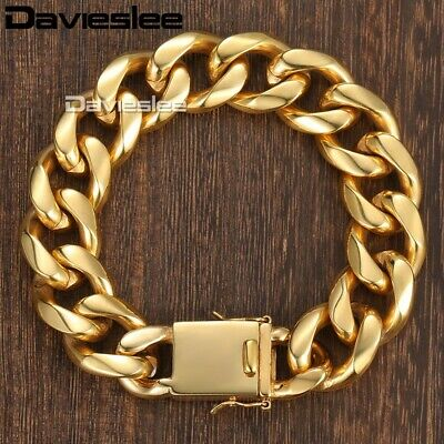 18mm Miami Curb Cuban Link Bracelet Mens Gold Tone Stainless Steel Chain Jewelry