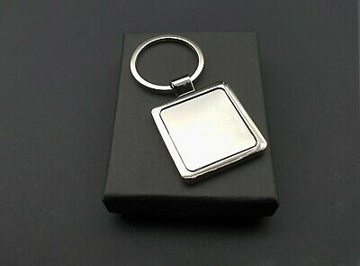 Modern Two Tone Square Chrome Keyring 2 Designs ONE ENGRAVING INCLUDED