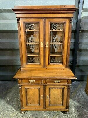 Superb antique Victorian glazed walnut bookcase secretaire dresser etched glass