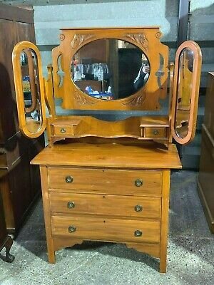 Arts & crafts style satinwood dressing table chest of drawers wth mirror gallery