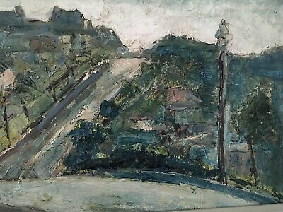 """HARRY HERING: (NY 1887-1967) Listed """"Up the HIll"""" Oil On Masonite 1945 Framed"""