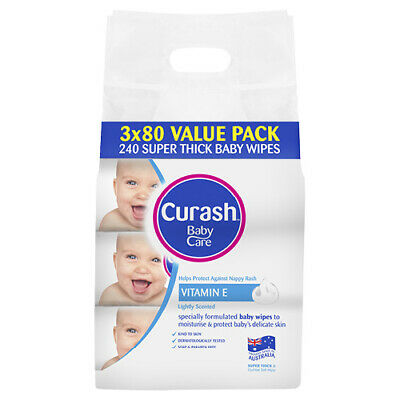 NEW Curash Baby Wipes Soap Free Value Pack Hypoallergenic 3 X 80 Pack