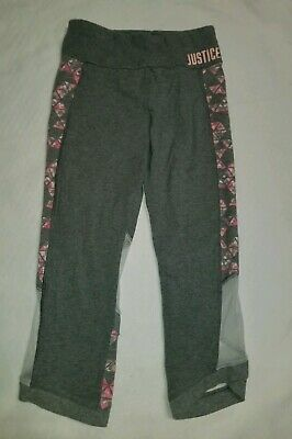 Justice Girl's Leggings Size 14-16 Gray Pink