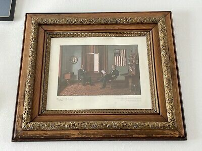 REPEAL OF THE BLACK LAWS 1864-1865 PRINT w PRIMITIVE WOOD & GESSO WALL FRAME LG