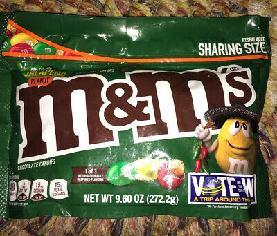 M&M's Chocolate Candy Flavor Vote Mexican Jalapeno Peanut Limited 9.6 Ounce Bag