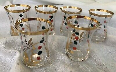 Vintage Shot Liqueur Glasses With Gold And Decorative Pattern In Ex Cond.