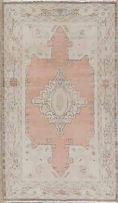 Vintage Antique Look Egyptian Oushak Oriental Area Rug Geometric Hand-Made 4x6