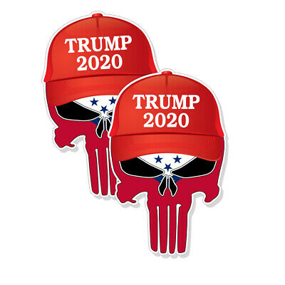 "TRUMP PUNISHER STICKERS Arkansas Flag 2020 Hat Decals 3"" tall 2-pack FRNT"